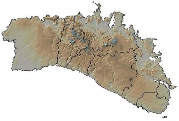 mapa limites administrativos y relieve de menorca