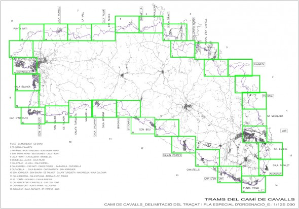 Mapa de tramos y accesos del Camí de Cavalls (click para ver ampliado)
