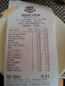 ticket restaurant es barranc