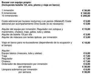 Precios buceo poseidon - 2016
